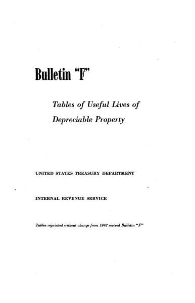 Download Bulletin  F   Tables of Useful Lives of Depreciable Property Book