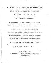 Syntagma Dissertationum: Volume 2