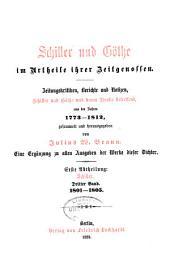 Schiller im urtheile seiner ihrer zeitgenossen: Band 3