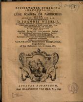 Dissertatio juridica inauguralis, de lege Pompeia de parricidiis: Volume 1