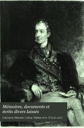 Mémoires, documents et écrits divers laissés: Volume1