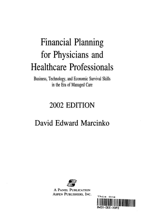 Financial Planning for Physicians and Healthcare Professionals 2002 PDF