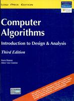Computer algorithms   introduction to design and analysis PDF