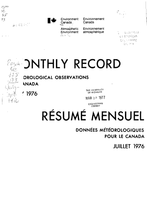 Monthly Record  Meteorological Observations in Canada PDF