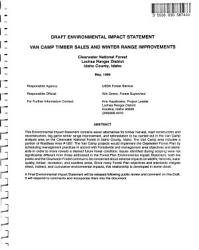Clearwater National Forest N F Van Camp Timber Sales And Winter Range Improvements Book PDF