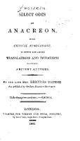 Select Odes of Anacreon PDF
