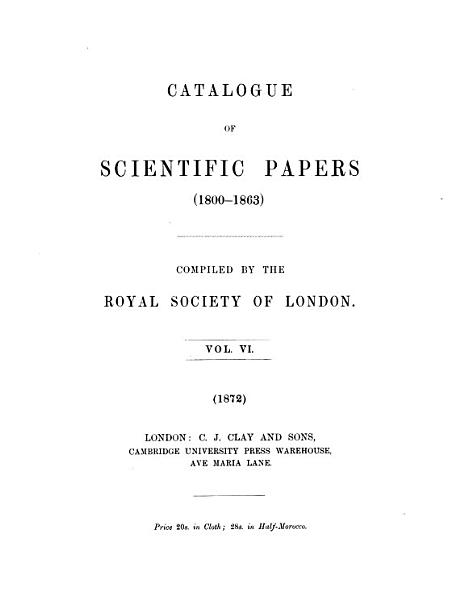 Download Catalogue of Scientific Papers  1800 1863  Book