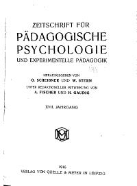 Zeitschrift Fur Padagogische Psychologie  und Experimentelle Padagogik PDF