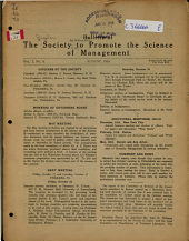 Bulletin of the Society to Promote the Science of Management: Volume 1, Issue 4