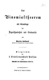 Programm der K. Studienanstalt Passau: für das Studienjahr ... 1870/71,[1]