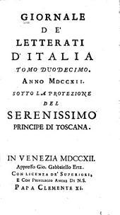 Giornale de' letterati d'Italia: Volume 12
