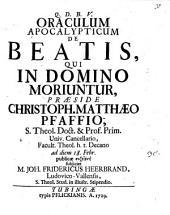 Oraculum apocalypticum de beatis, qui in Domino moriuntur