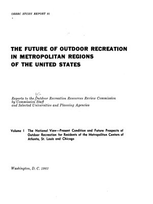 The Future of Outdoor Recreation in Metropolitan Regions of the United States PDF