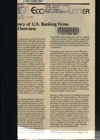 Efficiency of U S  Banking Firms