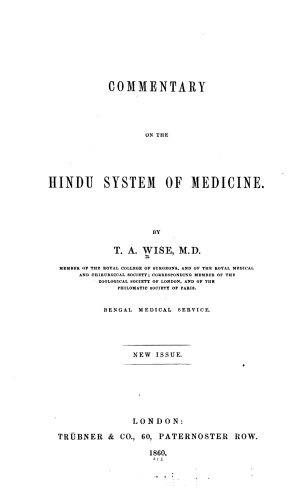 Commentary on the Hindu system of medicine