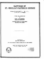 Baptisms of St  Cecilia s Catholic Church  Pawtucket  R I   1910 1988 PDF