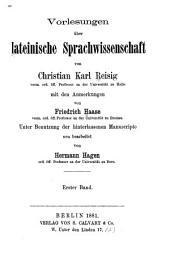 Vorlesungen über lateinische Sprachwissenschaft: Bd. Vorlesungen über lateinische Sprachwissenschaft