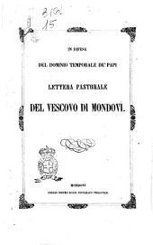 In difesa del dominio temporale de' papi lettera pastorale del vescovo di Mondovì [fr. Giovanni Tommaso, vescovo]