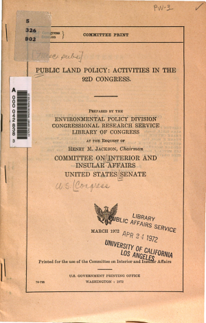 Public Land Policy  Activities in the 92d Congress PDF