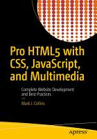 Pro HTML5 with CSS  JavaScript  and Multimedia PDF