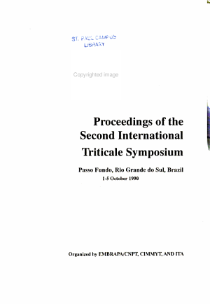 Proceedings of the Second International Triticale Symposium