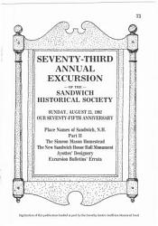 73rd Annual Excursion Of The Sandwich Historical Society Book PDF
