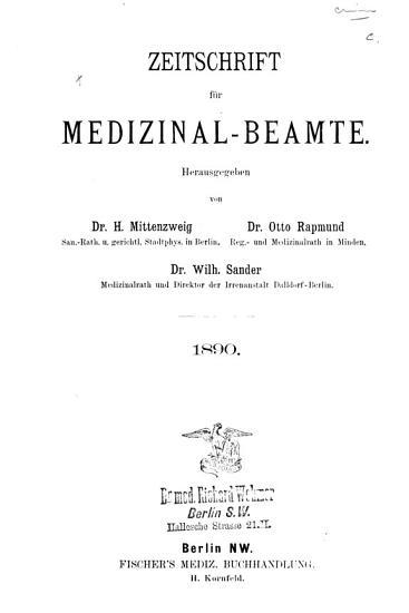 Zeitschrift f  r medizinal beamte PDF