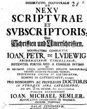 Diss. inaug. de nexu scripturae et subscriptoris
