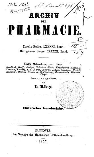 Archiv der Pharmacie  eine Zeitschrift des Apotheker Vereins im nordlichen Teutschland  Serie 2 PDF