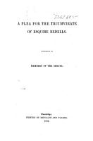 A Plea for the Triumvirate of Esquire Bedells  Addressed to members of the Senate   Signed  Academicus  i e  William Nind   PDF