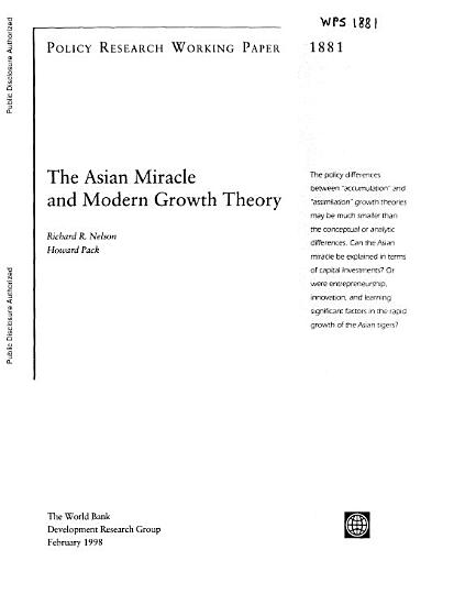 The Asian Miracle and Modern Growth Theory PDF