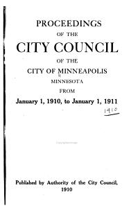 Proceedings of the City Council of the City of Minneapolis  Minnesota      PDF