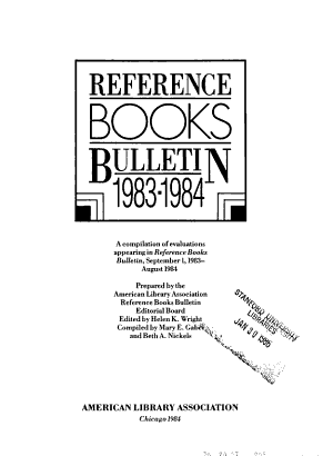 Reference and Subscription Books Reviews PDF