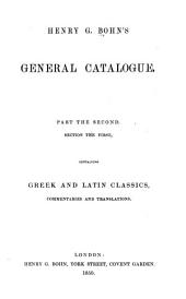 Catalogue of Books: pt. 1. Greek and Latin classics, with commetaries and translations
