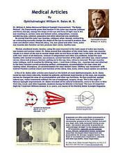 Medical Articles by Ophthalmologist William H. Bates: The Origin of Natural Eyesight Improvement-How He Did It!