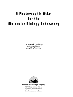 A Photographic Atlas for the Molecular Biology Laboratory PDF
