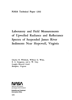 Laboratory And Field Measurements Of Upwelled Radiance And Reflectance Spectra Of Suspended James River Sediments Near Hopewell Virginia