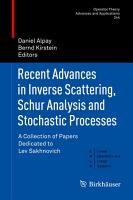 Recent Advances in Inverse Scattering  Schur Analysis and Stochastic Processes PDF
