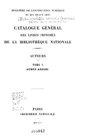 Catalogue général des livres imprimés: Auteurs, collectivités-auteurs, anonymes, 1960-1969. Caractères latins. Série 1