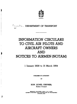 Information Circulars to Civil Air Pilots and Aircraft Owners and Notices to Airmen (NOTAM) 1927-36-