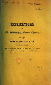 Procès entre MM. Pupunat, Granjard, etc. 1839-1840. Mémoires et factums