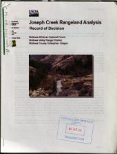 Wallowa-Whitman National Forest (N.F.), Joseph Creek Rangeland Analysis: Environmental Impact Statement