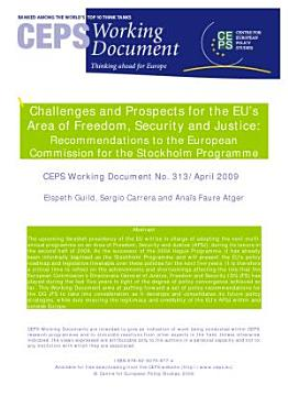 Challenges and Prospects for the EU   s Area of Freedom  Security and Justice  Recommendations to the European Commission for the Stockholm Programme PDF
