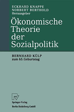 konomische Theorie der Sozialpolitik PDF