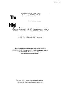 Proceedings of the First International Symposium on High Power Ultrasonics  Graz  Austria  17 19 September 1970