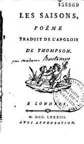 Les Saisons, poëme [suivi de l'Hymne] traduit de l'anglois de Thompson [par Marie Jeanne de Châtillon Bontems]