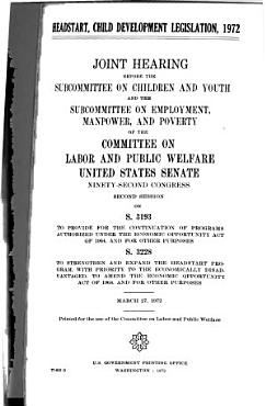 Headstart  Child Development Legislation  1972 PDF