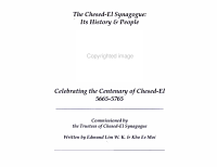 The Chesed El Synagogue PDF