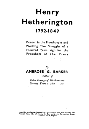 Henry Hetherington  1792 1849 PDF