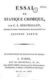 Essai de statique chimique: Volume2